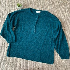 Vintage Teal Marled Cozy Knit Grandpa Sweater